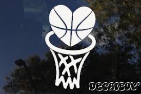Basketball Love Heart Decal