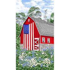 Timeless Treasures Fabrics Freedom Farm Red Barn With Flag Panel Quilt Panel