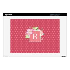 Feminine Chic Monogrammed Initial Pink Dot Floral 13 Laptop Decal Zazzle Com