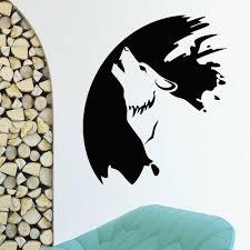 Shop Wolf Howling Moon Vinyl Wall Art Decal Sticker Overstock 11180341