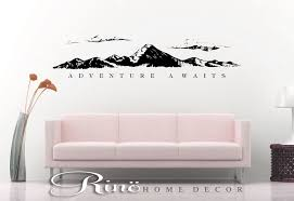Adventure Awaits Wall Decal Mountains Decor Travel Wall Quote Viny Rinohomedecor