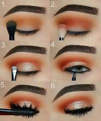 orange and gold glam eye makeup step by