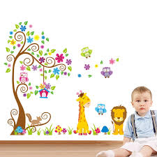 Large Size Trees Animals 3d Diy Colorful Owl Wall Stickers Wall Decals Adhesive For Kids Baby Room Mural Home Decor Wallpaper Wall Stickers Aliexpress