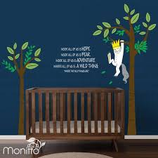 Where The Wild Thing Are Max Hanging From A Tree With Quote Etsy Kids Room Wall Decals Boy Nursery Themes Kids Wall Decals