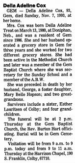 Obituary for Delia Adeline Cox, 1900-1993 (Aged 93) - Newspapers.com