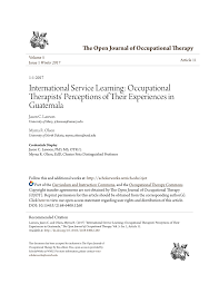 PDF) International Service Learning: Occupational Therapists' Perceptions  of Their Experiences in Guatemala