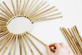 diy bamboo branch starburst mirror