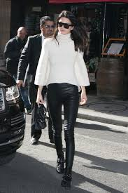 pfw kendall jenner skinny leather pants