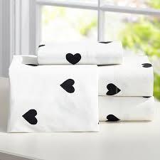 meritt black and white heart sheet set