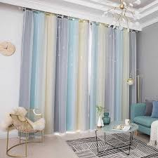 2020 Hollow Star Sheer Curtain For Girl Kids Bedroom Blackout Window Drapes Curtain Decoration For Home Rainbow Color Window Curtains From Zwinz23 38 44 Dhgate Com