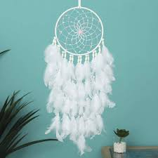 Amazon Com Treebud Dream Catcher Handmade Dreamcatcher Feather Indian Wall Hanging Decoration Ornament For Warm Homes And Kids Room Teepee Tents Decor White Feather Home Kitchen
