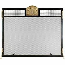 fireplace screen in antique brass
