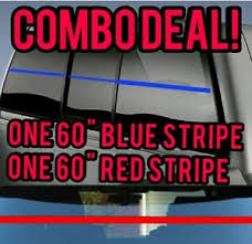 3 4 X60 Thin Blue Line And 3 4 X60 Red Line Back Window Stripe Vinyl Decal Ebay