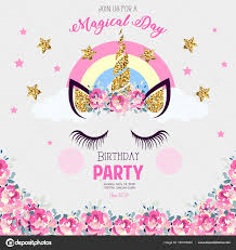 Birthday Party Invitation Unicorn Stock Vector C Elenabaryshkina