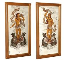 reverse painted wall mirrors