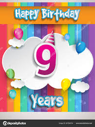 Years Birthday Celebration Balloons Clouds Colorful Vector Design