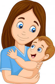 cartoon happy mother hugging her baby