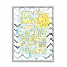 Shop The Kids Room By Stupell You Are My Sunshine Watercolors Chevron Grey Framed 16 X 20 Proudly Made In Usa 16 X 20 On Sale Overstock 30335007