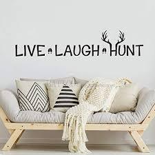 Amazon Com Battoo Live Laugh Hunt Deer Antler Wall Decor Hunting Deer Wall Decal Baby Room Vinyl Wall Art Sticker Black 10 H X46 W Arts Crafts Sewing