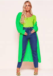 Addie Neon Green Longline Knit Cardigan Missy Empire