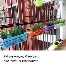 Balcony Planting Pot Holder With Flower Trough Wrought Iron Hanging Hook Indoor Handrail Iron Shelf Set Planters For Succulents Flower Pots Planters Aliexpress