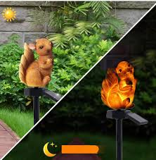 outdoor led solar lights cute squirrel