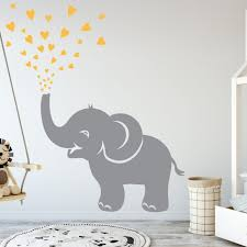Elephant Wall Decal With Hearts Noteys Com