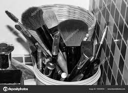 makeup brushes pencil tools messy black