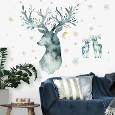 Watercolor Winter Deer Peel And Stick Giant Wall Decals Roommates Decor