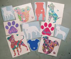 Lilly Pulitzer Inspired Pitbull Decal Dog Decal Lilly Pulitzer Dog D Slrustic