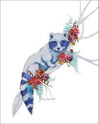 Forrest Raccoon Nursery Print Sugar Animal 8x10 Watercolor Art Etsy