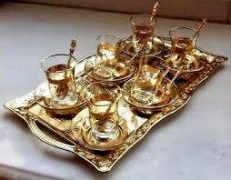 tea set gold trim glass cups saucers