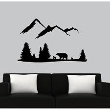 Bear Mountain Scene Wall Or Window Decal Black Walmart Com Walmart Com