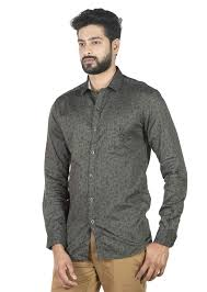 Buy South India SHOPPING MALL - Adam Parker Men Upper Darkgrey Leaves Shirt  at Amazon.in