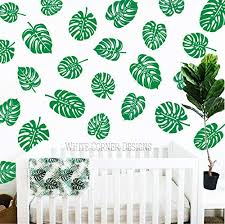 Amazon Com Palm Leaf Decals Monstera Wall Decals Tropical Leaf Decals Palm Leafs Decals Palm Leaf Stickers Gift For Her Wife Gift Ga110 Handmade