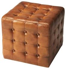 brown leather ottoman medium brown