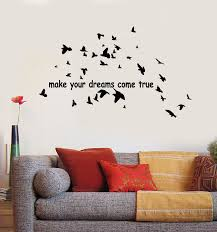 Vinyl Wall Decal Dreams Come True Positive Quote Birds Patterns Sticke Wallstickers4you