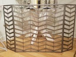 silver 3 panels modern fireplace screen