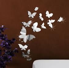 Silver Mirror Wall Art Wall Stickers Decal Butterflies Home Decoration Home Garden Decor Decals Stickers Vinyl Art
