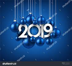 Blue 2019 New Year Background With Christmas Balls Festive Shiny