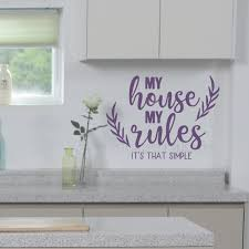 Home Wall Decor Quote My House My Rules Vinyl Decal Lettering Sticker