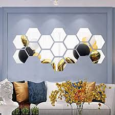 Amazon Com Hexagon Mirror Wall Stickers 20cm Size Acrylic Hex Art Diy Home Decorative Hexagonal Mirror Sheet Plastic Mirror Tiles For Home Living Room Bedroom Sofa Tv Background Wall Decal Decoration