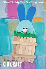 Easter Bunny Hiding Behind Popsicle Stick Fence Kid Craft