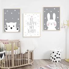 Baby Nursery Wall Decor Canvas Poster Cartoon Moon Star Wall Art Print Kids Room Home Garden Home Decor Home Garden Home Decor