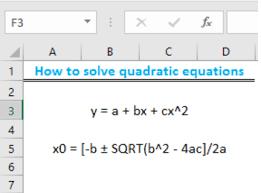 solve quadratic equation in excel