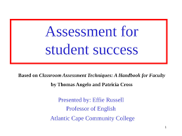 Assessment for student success Based on Classroom Assessment Techniques: A  Handbook for Faculty by Thomas Angelo and Patricia Cross Presented by: Effie  Russell Professor of English Atlantic Cape Comm
