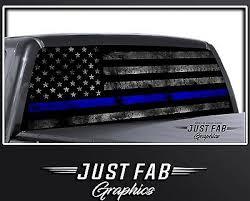 Thin Blue Line Respect Police Officer Leo Blue Lives Matter Rear Window Decal Ebay