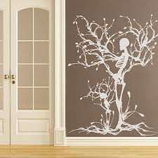 Amazon Com Mairgwall Gothic Wall Decal Halloween Decor Skeleton Art Sticker Tree Wall Art For Living Room 50 H X38 W White Home Kitchen