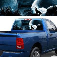 Auto Car Rear Window Graphic Decal Tint Sticker 4 Sizes Wolf Howling In The Night Cool Car Sticker Truck Decoration Car Stickers Aliexpress