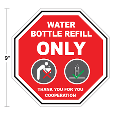 Water Bottle Refill Only 9 X 9 Floor Wall Stop Sign Decal Pack